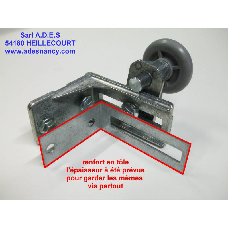 Renfort d 39 equerre de support roulette sur portes for Piece porte garage